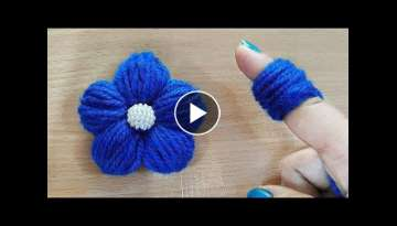 Amazing Woolen Flower Craft Idea using Finger - Easy Woolen Flower Making - Hand Embroidery Trick