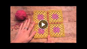 Como unir cuadrados con punto raso | How to join granny squares with slipstich