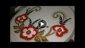 Hand embroidery . carding satin stitch with decoration for dresses, sarees, blouses and ghagras.