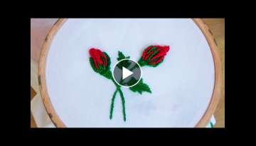Hand Embroidery: Rosebuds (bar blanket stitch)