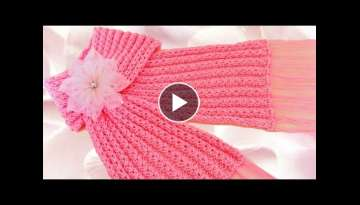 Como tejer una bufanda facil y rapido en punto primavera - How to make scarf knitting