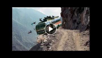Most Dangerous mountain roads In The World, Heavy Equipment Truck Skill Driving, Dangerous trip