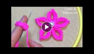 Amazing Trick with Finger - Super Easy Woolen Flower Making Ideas - Hand Embroidery Flower Design