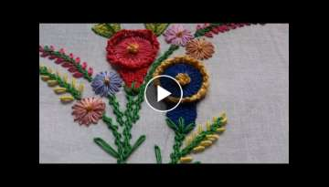 Hand embroidery designs. Hand embroidery tutorial. Embroidery ideas- Chamanthy stitch variation.
