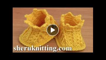 How to Crochet Baby Booties Tutorial 44 Part 2 of 2 Como hacer crochet zapatitos para baby
