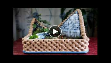 Wow! Amazing Ideas with Cement - How to Make Wonderful Mini Waterfall For Your House