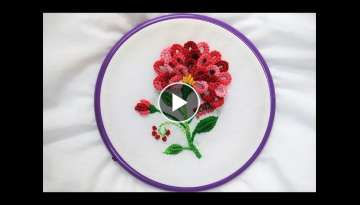 Hand Embroidery - Flower with Cast-on Knotted Stitch - YouTube