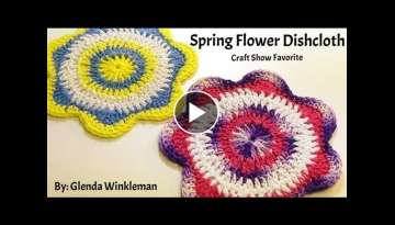 How To Crochet (Spring Flower Dishcloth) Free Pattern / Tutorial