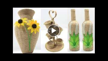 5 Flower vase decoration ideas with jute | Home decoration ideas handmade