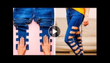 EASY BREEZY JEANS HACKS || 41 Clothes Transformations with 5-Minute DECOR!