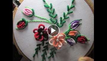Hand Embroidery Designs | Cushion cover design | Stitch and Flower