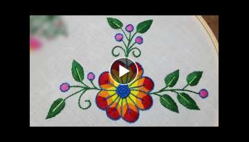 beautiful flower stitch hand embroidery/hand embridery design for cushion cover