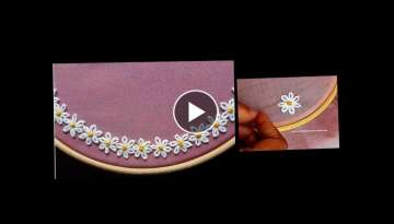 Boat Neck | Hand embroidery stitch on churidar / Kurti - DIY - decorative stitches