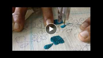 Machine embroidery is relaxing to watch - Making of flowers and stems
