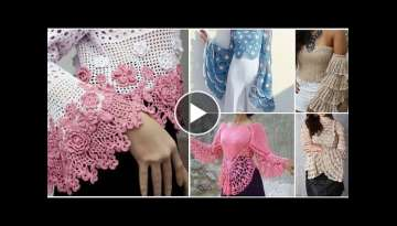 Beautiful flayerd sleeves crochet top