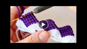 Perfect harmony of purple and white Tunisian crochet knitting pattern