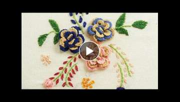 Bordado flor | Hand Embroidery Flower Design by Diy Stitching
