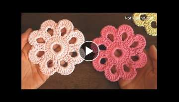 How to crochet EASY for beginners CROCHET Motif Flower Doily Coaster