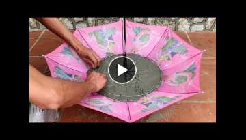 Idea making a waterfall from umbrella - How to make a fish tank and a waterfall - Cement craft id...