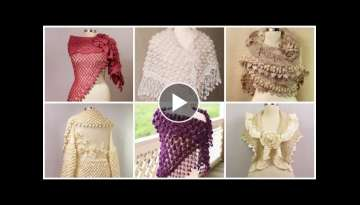 Latest stylish designers 58 trendy bridal hand knitting caplet crochet shawl,caplet shawl designs