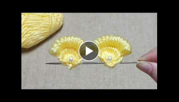 Awesome Flower Craft Ideas with Woolen - Amazing Hand Embroidery Design Trick - DIY Woolen Flower...