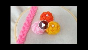 Super Easy Woolen Flower Making for Beginners - Hand Embroidery Amazing Trick - Wool Thread Desig...