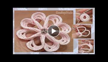How to Сrochet Flower 8 Petals Tutorial 58 Stitches Worked Around Post
