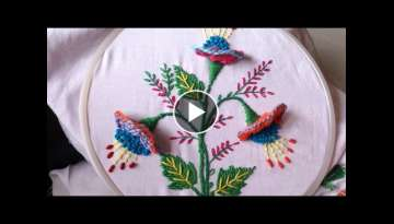 hand embroidery. hand embroidery designs. 3d flower.