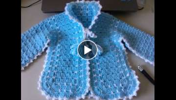 Crochet Baby Sweater with Unique Stitch