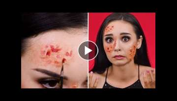 Burnt Face Look | Easy Halloween Makeup Tutorial | Weird Makeup Ideas by Blusher