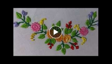 Hand Embroidery stitches Tutorial - Tiny design for frocks, blouses, cushion covers etc