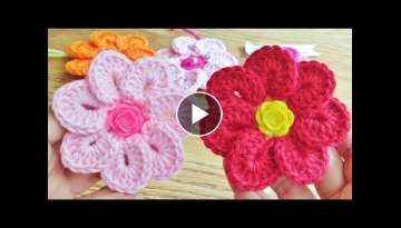Crochet 7 Petals Flower Easy