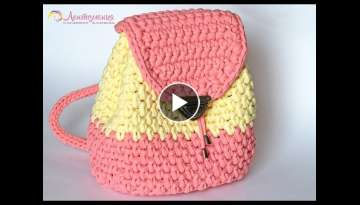 Very simple backpack of knitted yarn Ribbons (subtitles)