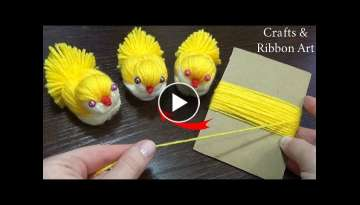 Super Easy Chicken Making Idea with Yarn - DIY Woolen Chick - How to Make Yarn Chick - Woolen Dol...