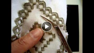 Hardanger Embroidery, Lesson 8, Cutting the interior