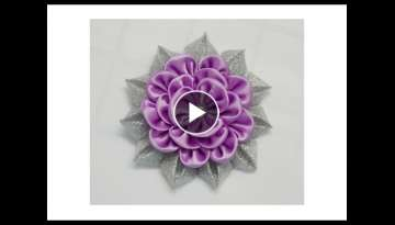 How to make kanzashi flower, Diy ribbon flowers, Kanzashi flores de cinta