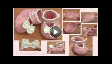 Crochet Baby Shoes Sole Tutorial 37 Part 1 of 2