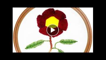 Flower Design With Buttonhole And Cretan Stitch | Hand Embroidery Design
