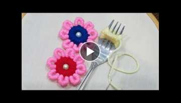 Hand Embroidery:Amazing Trick #SewingHack Making Unique Double Colour Flower With Fork Part 17