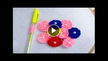 Hand Embroidery Amazing Trick# Sewing Hack with pen# Amazing flower embroidery trick