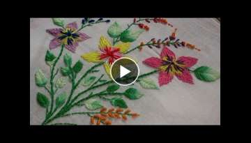 Hand embroidery designs - embroidery stitches tutorial - romanian stitch flowers and fish bone le...