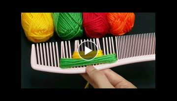 Amazing Woolen Flower Ideas with Hair Comb - Hand Embroidery Design - Sewing Hack - Easy Trick