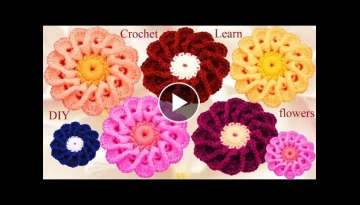 Flores a crochet con petalos entrecruzados - How to flower Crochet