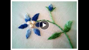 Hand Embroidery - Fish Bone Stitch || Floral Embroidery