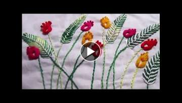 Hand Embroidery Design | Grass Flower Wall Decoration