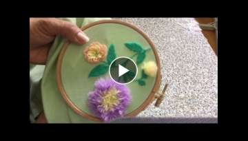 Hand Embroidery easy stitch how to make Pom Pom flower stitch