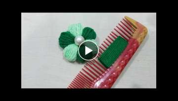 Hand Embroidery:Wow Super Easy Wool Flower Double Colour Trick Make With Hair comb,Sewing Hack