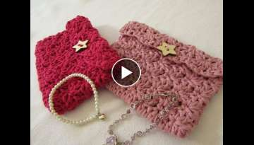 VERY EASY crochet mini shell stitch purse tutorial
