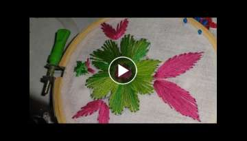 Hand Embroidery Flower Design Satin Stitch byAmmaArts