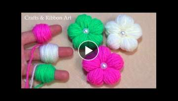 Amazing Woolen Flower Craft Ideas with Finger - Easy Woolen Flower Making - Hand Embroidery Flowe...